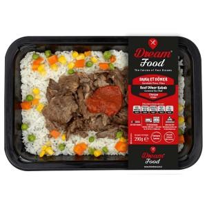 dana et döner ve garnitürlü pirinç pilavı hazır paket yemek
