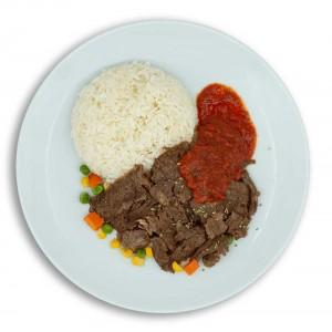 dana et döner ve pirinç pilavı dondurulmuş hazır paket yemek