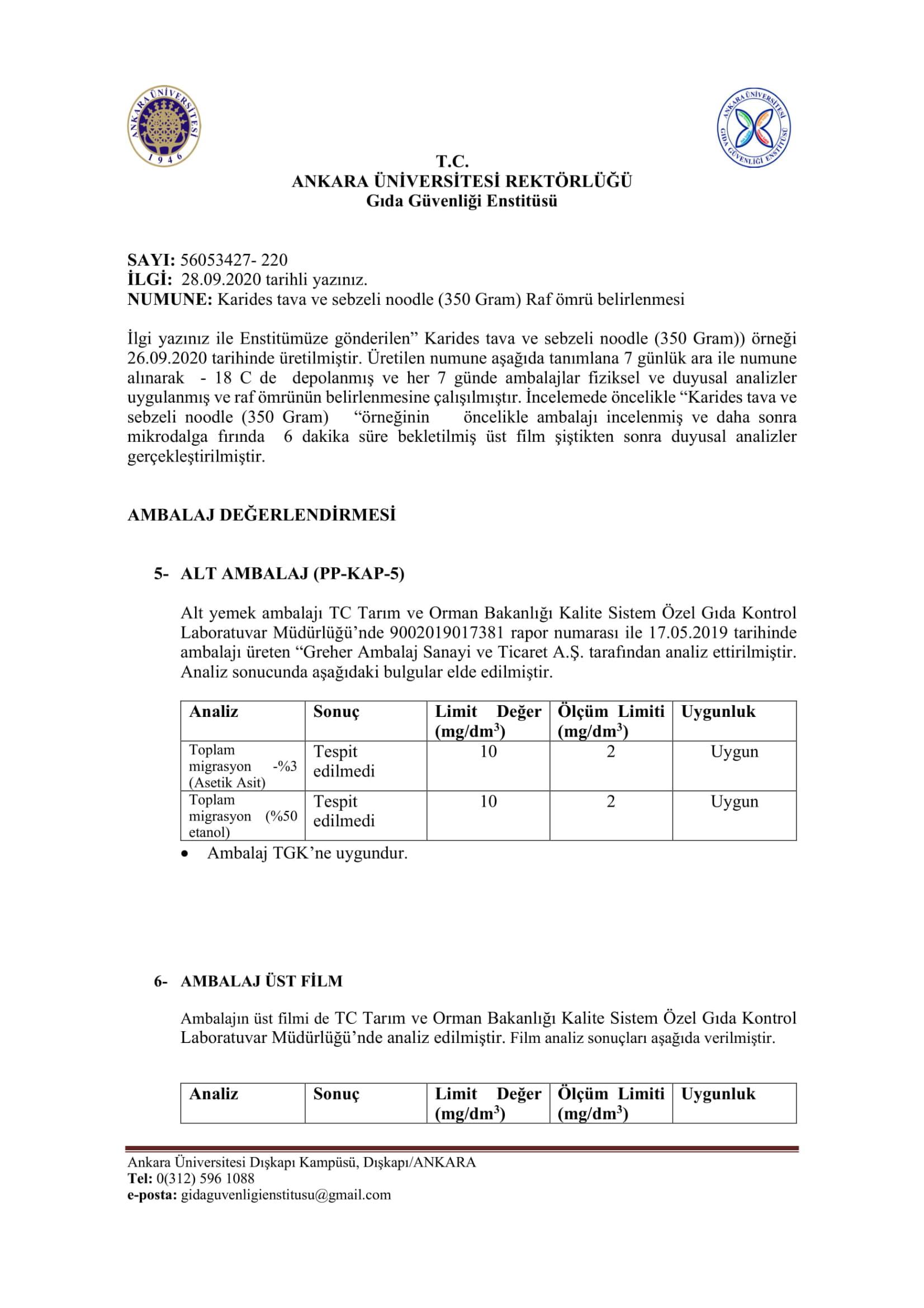 Ankara Üniversitesi Gıda Güvenliği Raporları